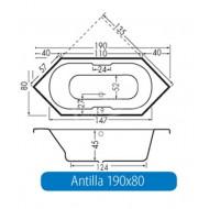 Beterbad Antilla (190x80x45cm) Hoekbad Duobad 225L Acryl Wit