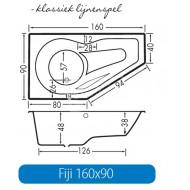 Beterbad Fiji Links (160x90x48cm) Ruimtebesparend 216L Acryl Wit