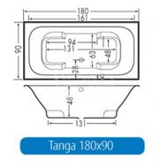 Beterbad Tanga (180x90x48cm) Duobad 300L Acryl Wit