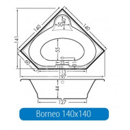 Beterbad Borneo (140x44x44cm) Hoekbad Duobad 285L Acryl Wit