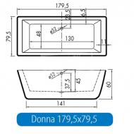Vrijstaand Beterbad Donna (180x80x60cm) Duobad 250L Acryl Wit