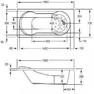 Plieger Vigo (160x70x39cm) 130 liter Geintegreerd douchegedeelte Acryl Wit met Badpoten