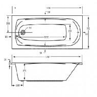 Plieger Basic (170x70x37cm) 130 liter Solobad Acryl Wit met Badpoten