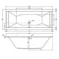 Plieger Corfu (180x80x48cm) 220 liter Duobad Acryl Wit met Badpoten Extra Diep