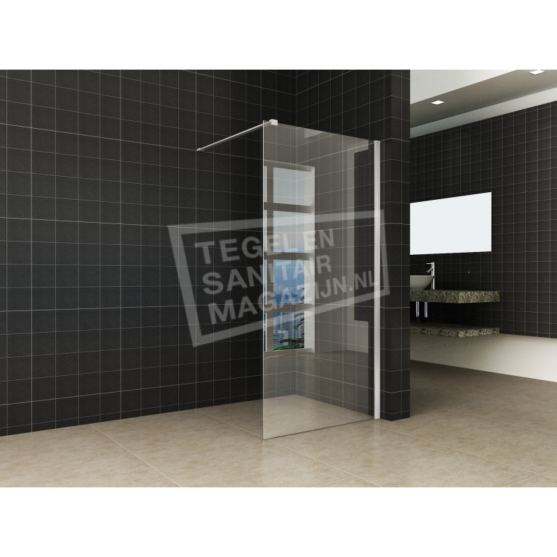 wiesbaden stein inloopdouche met geborsteld rvs muurprofiel 120x200 cm 10mm nano anti kalk. Black Bedroom Furniture Sets. Home Design Ideas