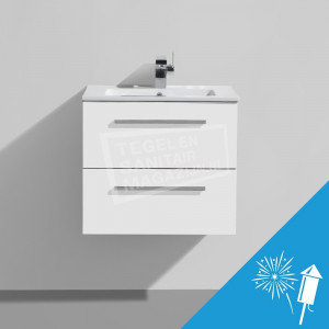 Sanilux Aktione Badmeubel Wit (Mat) 60 cm Onderkast + Keramische Wasblad