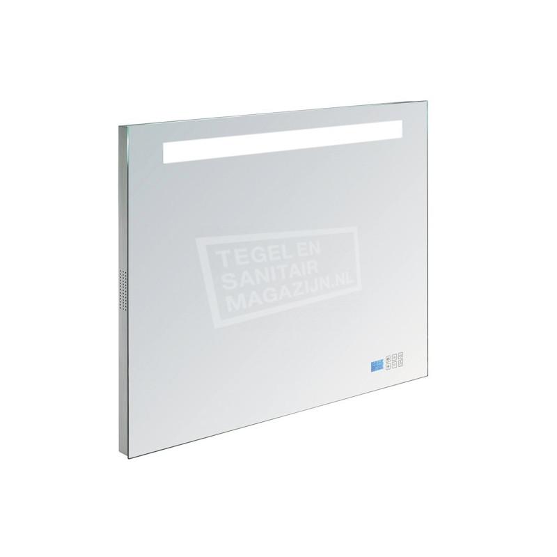 Aluminium spiegel met TL verlichting en radio 80cm