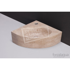 Forzalaqua Turino Fontein Kwartrond Travertin Gezoet 30x30x10 cm