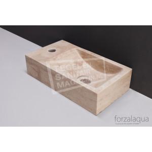 Forzalaqua Venetia Fontein Rechthoek Travertin Gezoet 40x22x10 cm 1 kraangat Links