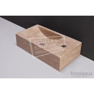 Forzalaqua Venetia Fontein Rechthoek Travertin Gezoet 40x22x10 cm 1 kraangat Rechts