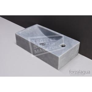 Forzalaqua Venetia Fontein Rechthoek Cloudy Marmer Gezoet 40x22x10 cm 1 kraangat Rechts