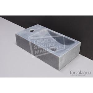 Forzalaqua Venetia Fontein Rechthoek Cloudy Marmer Gezoet 40x22x10 cm 1 kraangat Links