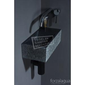 Forzalaqua Venetia XS Fontein Rechthoek Basalt Gebrand 29x16x10 cm zonder kraangaten Rechts