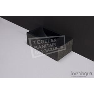 Forzalaqua Venetia XS Fontein Rechthoek Basalt Gebrand 29x16x10 cm 1 kraangat Rechts