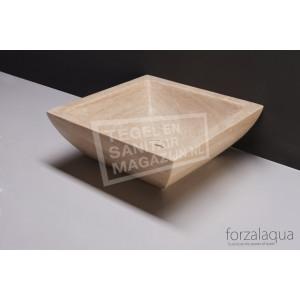 Forzalaqua Siracusa Waskom Travertin Gezoet 40x40x15 cm