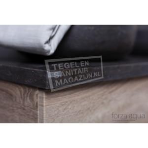 Forzalaqua Plateau Wastafelblad Rechthoek Hardsteen Gezoet 100,5x51,5x3 cm 2 afvoergaten (72mm)