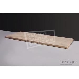 Forzalaqua Plateau Wastafelblad Rechthoek Travertin Gezoet 100,5x51,5x3 cm 2 afvoergaten (72mm)