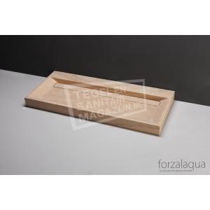 Forzalaqua Bellezza Wastafel 100 cm Travertin Gezoet 100,5x51,5x9 cm 1 wasbak 2 kraangaten