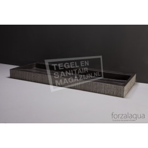 Forzalaqua Palermo Wastafel 100 cm Hardsteen Gefrijnd 100,5x51,5x9 cm 1 wasbak 2 kraangaten