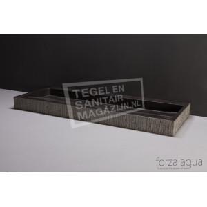 Forzalaqua Palermo Wastafel 100 cm Hardsteen Gefrijnd 100,5x51,5x9 cm 1 wasbak 1 kraangat