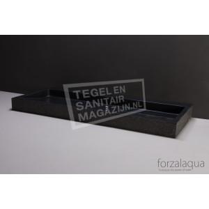 Forzalaqua Palermo Wastafel 100 cm Basalt Gebrand 100,5x51,5x9 cm 1 wasbak 2 kraangaten