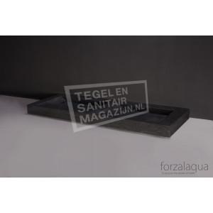 Forzalaqua Bellezza Doppio Wastafel 140 cm Hardsteen Gezoet 140,5x51,5x9 cm 2 wasbakken zonder kraangaten