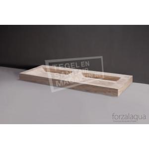 Forzalaqua Bellezza Doppio Wastafel 140 cm Travertin Gezoet 140,5x51,5x9 cm 2 wasbakken zonder kraangaten