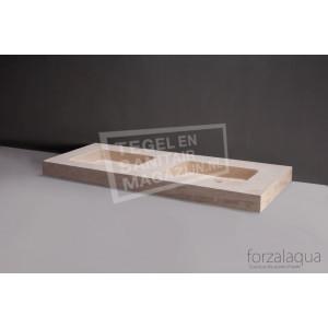 Forzalaqua Napoli Wastafel 160 cm Travertin Gezoet 160x60x9 cm 2 wasbakken zonder kraangaten