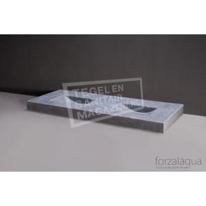 Forzalaqua Napoli Wastafel 160 cm Ii Cloudy Marmer Gezoet 160x60x9 cm 2 wasbakken zonder kraangaten