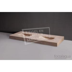 Forzalaqua Napoli Wastafel 160 cm Ii Travertin Gezoet 160x60x9 cm 2 wasbakken 2 kraangaten
