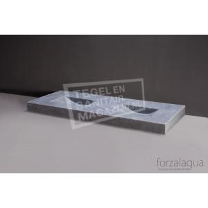 Forzalaqua Napoli Wastafel 160 cm Ii Cloudy Marmer Gezoet 160x60x9 cm 2 wasbakken 2 kraangaten