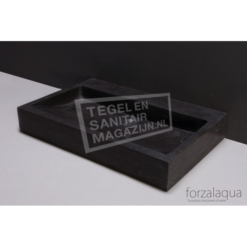 Forzalaqua Palermo Wastafel 80 cm Hardsteen Gezoet 80,5x51,5x9 cm 1 wasbak 1 kraangat