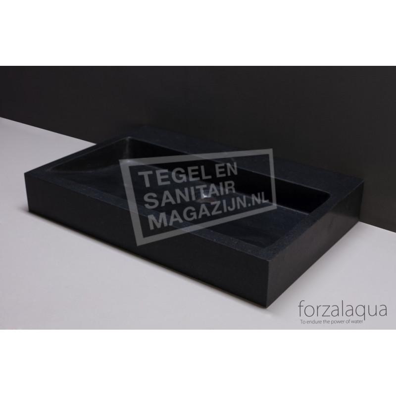 Forzalaqua Palermo Wastafel 80 cm Basalt Gezoet 80,5x51,5x9 cm 1 wasbak 1 kraangat