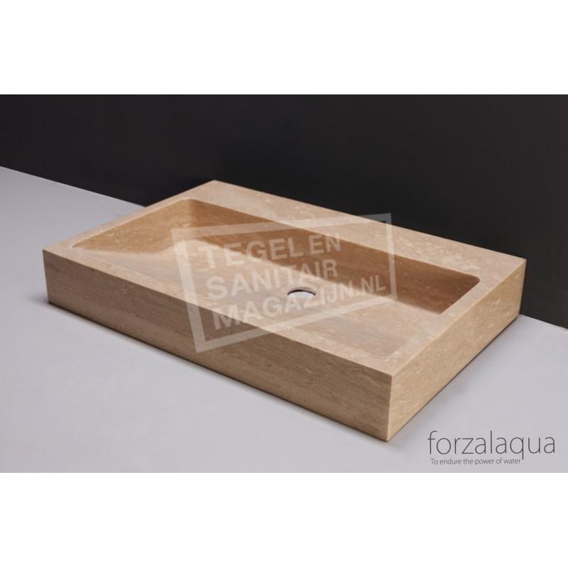 Forzalaqua Palermo Wastafel 80 cm Travertin Gezoet 80,5x51,5x9 cm 1 wasbak 2 kraangaten