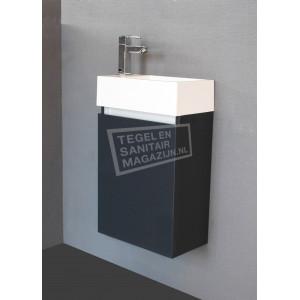 Sanilux Trendline Fonteinkast 40 cm Hoogglans Antraciet met 1 deur Greeploos Softclose L/R