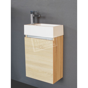 Sanilux Trendline Fonteinkast 40 cm Light Wood met 1 deur Greeploos Softclose L/R