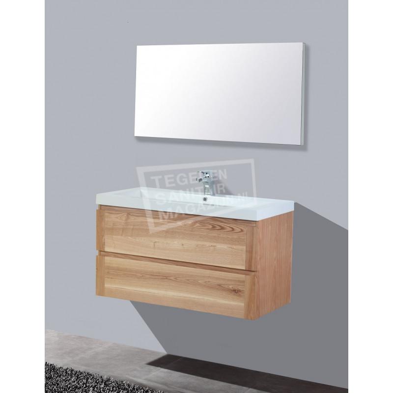 Sanilux Trend Wood 100 cm Badmeubel Eiken met 2 lades Greeploos Softclose 2 kraangaten met Spiegel