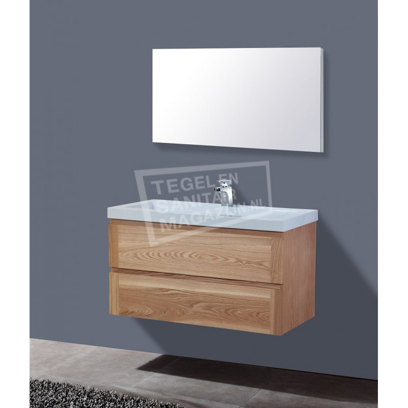 Sanilux Senza Wood 100 cm Badmeubel Eiken met 2 lades Greeploos Softclose 2 kraangaten met Spiegel