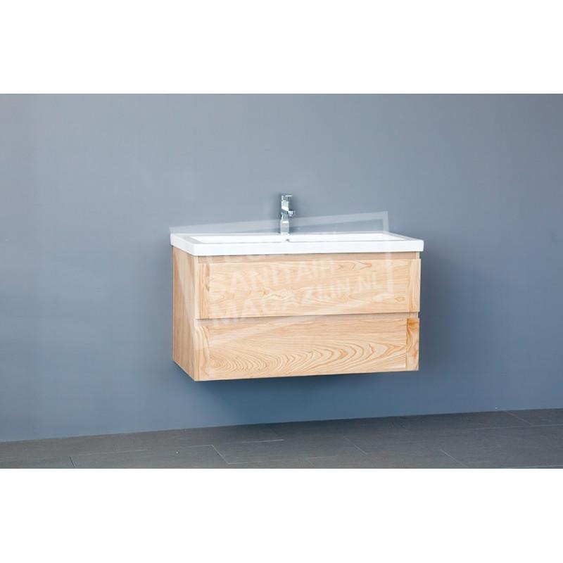 Sanilux Wood Keramic 100 cm Badmeubel Eiken met 2 lades Greeploos Softclose 2 kraangaten met Spiegel