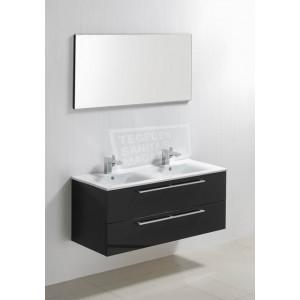 Sanilux Roma 100 cm Badmeubel Hoogglans Antraciet met 2 lades Softclose 1 kraangat met Spiegel
