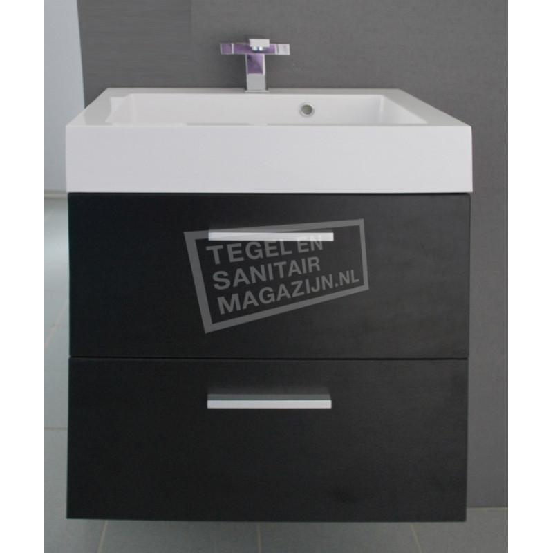 Sanilux New York 58 cm Badmeubel Zwart Wenge met 2 lades Softclose 1 kraangat met Spiegel