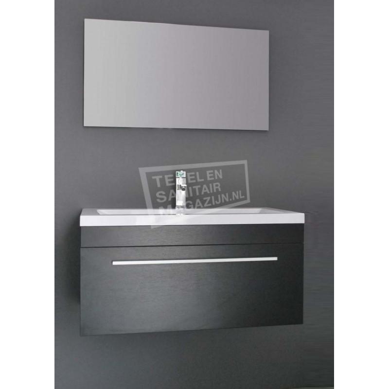Sanilux Miami 90 cm Badmeubel Zwart Wenge met 1 lade Softclose 1 kraangat met Spiegel