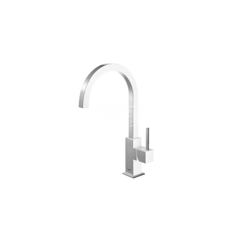TRES Cuadro Exclusive keukenkraan met gebogen uitloop wit/chroom 430497