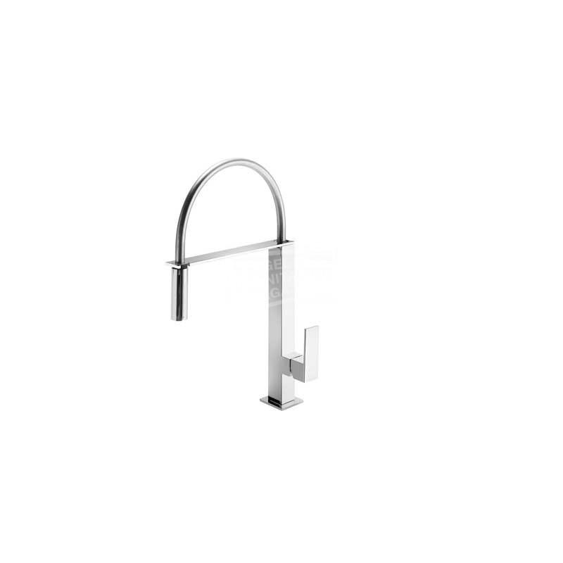 TRES Cuadro design keukenkraan met uittrekbare uitloop wit/chroom 406487