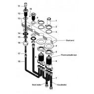 Wiesbaden Cross 4-gats thermostatische badrandcombinatie chroom
