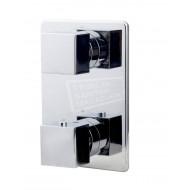 Wiesbaden Rombo inbouw badthermostaat met handdouche en inloopcombinatie chroom