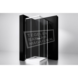 Best Design Project 80x80x190 cm Douchecabine Hoekinstap 2 Schuifdeuren 5 mm Aluminium