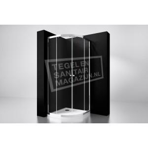 Best Design Project 80x80x190 cm Douchecabine Kwartrond 2 Schuifdeuren 5 mm Aluminium