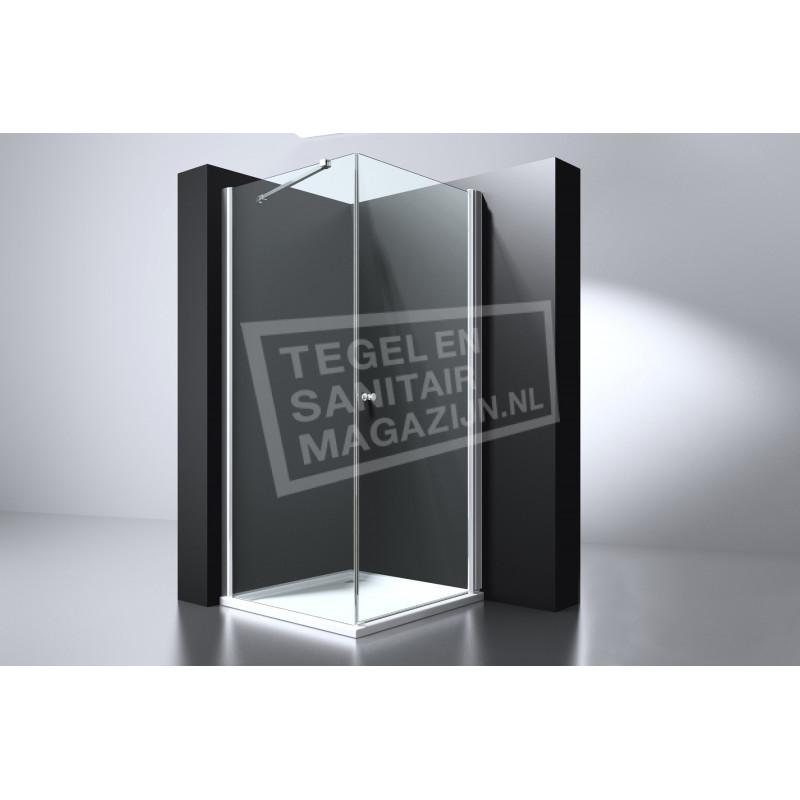 Best Design Erico 100x100x200 cm Douchecabine Vierkant 1 Swingdeur 6 mm Chroom NANO