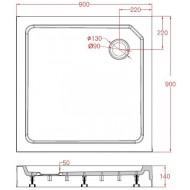 Best Design Project 90x90x14 cm Douchebak Opbouw Vierkant Wit SMC